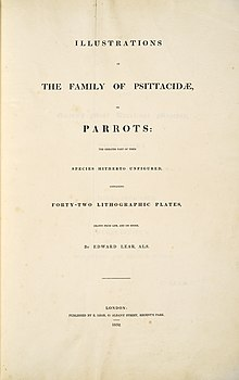 Illustrations of the family of Psittacidae, or parrots (1832) -book title page -by Edward Lear.jpg