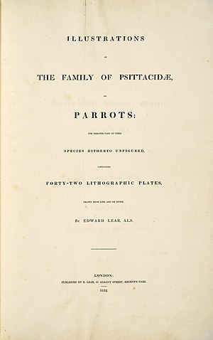 Illustrations of the Family of Psittacidae, or Parrots - Image: Illustrations of the family of Psittacidae, or parrots (1832) book title page by Edward Lear
