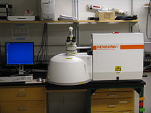 Photo of a Raman microscope, with a sample enclosure