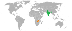 Map indicating locations of India and Zambia