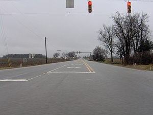 Indiana State Road 1 - View southward along State Road 1 from the intersection with US 224