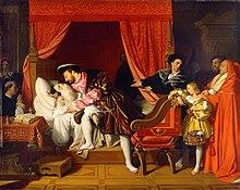 Leonardo stirbt in den Armen des Königs, gemalt von Jean-Auguste-Dominique Ingres (Quelle: Wikimedia)