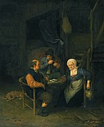Interior with Two Boors & a Woman Conversing by Adriaen Jansz. van Ostade.jpg