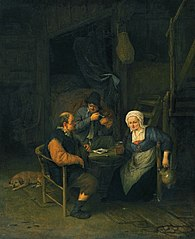 Interior with Two Boors & a Woman Conversing