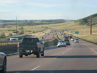 Interstate 25 in Colorado - Northbound I-25 between Colorado Springs and Denver.