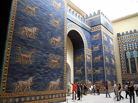 A reconstruction of the blue-tiled Ishtar Gate which was the northern entrance to Babylon. It was named for the goddess of love and war. Bulls and dragons, symbols of the god Marduk, decorated the gate. Ishtar Gate at Berlin Museum.jpg