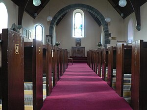 English: Isle of Gigha: numbered church pews L...