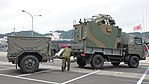 JGSDF Type 73 chugata truck(08-0080) with JS-P5 shelter & JK-2 power supply trailer(78-5031) of JTPS-P9 radar unit(driving mode) right rear view at JMSDF Maizuru Naval Base July 29, 2017 01.jpg
