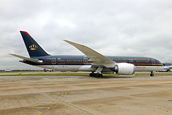 JY-BAA Boeing 787-8 Royal Jordanian Airlines heading to std 323 on its first visit.jpg