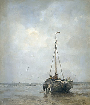 Jacob Maris - Ship on the Scheveningen Beach.