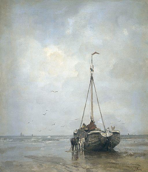 Jacob Maris - Bomschuit op het Scheveningse strand 1880-1899