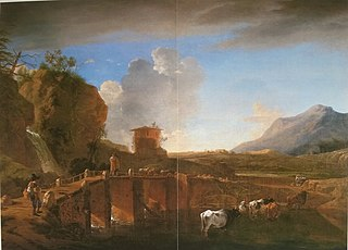Italianate landscape with bridge near Tivoli