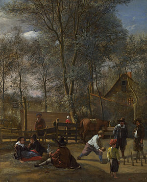 Skittles (sport) - Skittle Players outside an Inn by Jan Steen.