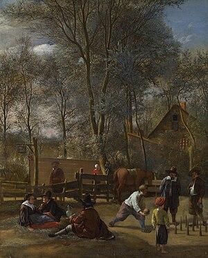 1660 in art - Skittle Players outside an Inn by Jan Steen.