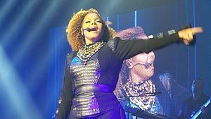 "Janet Jackson's Rhythm Nation 1814 - Jackson singing ""Love Will Never Do (Without You)"" during her 2015-16 Unbreakable World Tour. The song became the final of seven top five singles released from Rhythm Nation 1814."