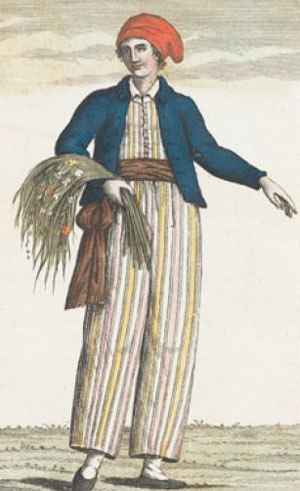 Jeanne Baret - Imagined portrait of Jeanne Baré dressed as a sailor, dating from 1817, after her death.