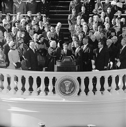 Chief Justice Earl Warren administers the Presidential oath of office to John F. Kennedy at the Capitol, January 20, 1961. Jfk inauguration.jpg