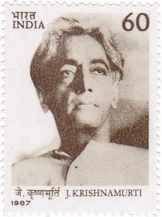 Jiddu Krishnamurti - Krishnamurti on a 1987 stamp of India