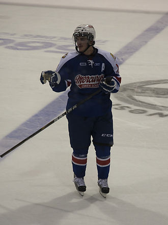 Third jersey - Owen Sound Attack's Joey Hishon wearing a third uniform in the Ontario Hockey League