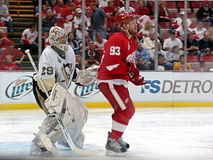 2009 Stanley Cup Finals - Fleury is screened by Franzen during Game 5
