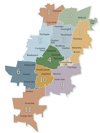 Johannesburg war bis 2006 in folgende elf verwaltungsbezirke