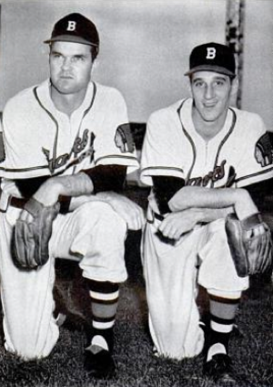 Billy Southworth - Pitchers Johnny Sain (left) and Warren Spahn