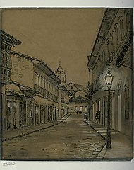 Aspecto da Rua do Rosário à noite em 1862