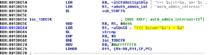 Backdoor (computing) - Marked in yellow: backdoor admin password hidden in the code