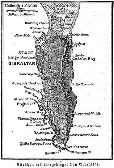 Kärtchen des vorgebirges von gibraltar