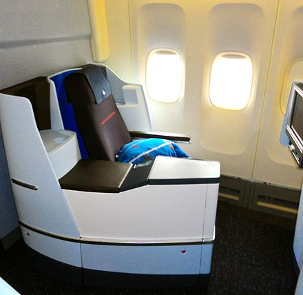 Business Class on board a refurbished KLM Boeing 747-400 KLM World Business Class Seat.jpg