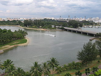 Kallang - The mouth of the Kallang River and Rochor River at Kallang Basin in December 2005, with the old National Stadium in the background and the Kallang Riverside Park in the foreground.