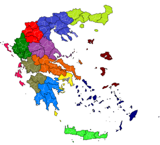 Kallikratis Plan - Subdivisions of Greece after the 2010 Kallikratis reform.