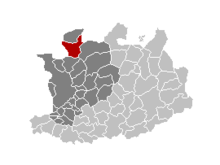 Location of Kalmthout in the province of Antwerp