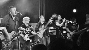 Keith Top Of The Pops & His Minor UK Indie Celebrity All-Star Backing Band - Some of the band performing at the Scala in 2013. From left to right: Keith TOTP, Charley Stone, Mickey Ciccone, Melissa Reardon, Adie Nunn