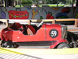 Red car in station at Kennywood Auto Race.