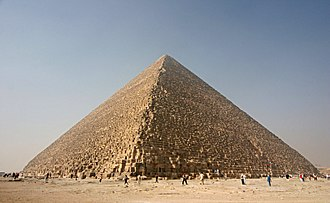 Monument - The Great Pyramid of Giza built almost 5000 years ago as pharaoh's tomb, one of the Seven Wonders and enduring symbol of ancient Egyptian civilization since antiquity.