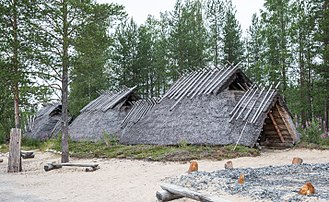 Finland - Reconstruction of Stone Age dwelling from Kierikki, Oulu.