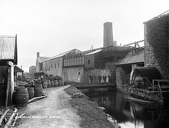 Irish whiskey - Kilbeggan Distillery, pictured here c.1905 was just one of many Irish distilleries which closed in the 20th century.