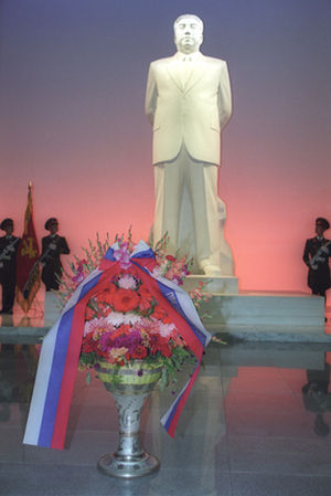 Kumsusan Palace of the Sun - A white marble statue of Kim Il-sung inside the Kumsusan Palace of the Sun.