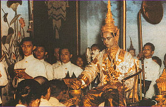 History of Thailand (1932–1973) - King Bhumibol at his coronation at the Grand Palace