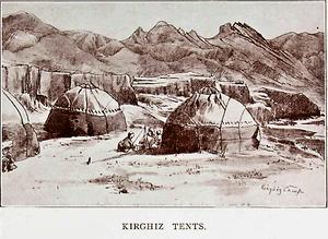"""Kyrgyz in China - """"Kirgiz Tents"""" or yurts. 1914."""