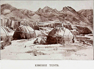 "Kyrgyz in China - ""Kirgiz Tents"" or yurts. 1914."