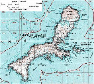 Kiska - A topographical map of Kiska