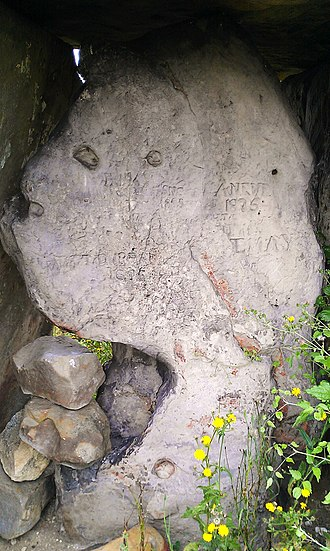 Kit's Coty House - The back slab of the megalith, engraved with much graffiti.
