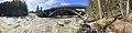Kløftbrua Kløft bru road bridge Trondheimsveien E6 Byna and Orkla rivers spring floods Ulsberg Rennebu kommune Trøndelag Norway Distorted panorama 2019-04-25 IMG 7768.jpg