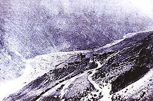 Kolka Glacier - Aftermath of the 1902 surge near the Tmenikau aul.