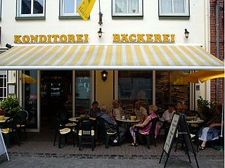 Konditorei craft business, produces pastry or sweet pastries