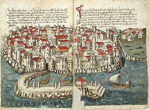 Methoni, Messenia - Old depiction of Methoni Castle