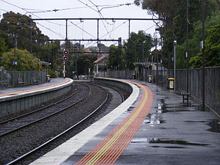 railway station in Kooyong, Melbourne, Victoria, Australia
