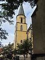 Kostel sv. Apolináře - Pohled na věž z exteriéru.JPG
